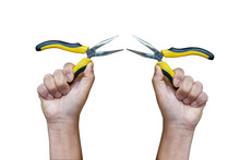 Yellow And Black Pliers On The Hand