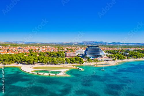 Foto Aerial view of town of Vodice, amazing turquoise coastline on Adriatic coast, Cr