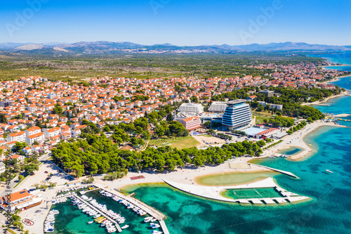 Foto Aerial view of town of Vodice, amazing turquoise coastline on Adriatic coast, Cr