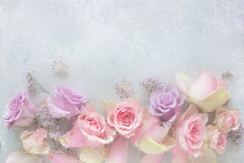 Beautiful Pink Rose Flowers Through The Glass With Waterdrops Background