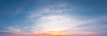 Panoramic Sunrise With Cirrus Clouds Illuminated By The Rays Of The Sun