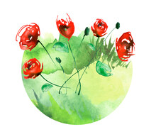 Watercolor Painting. A Bouquet Of Flowers Of Red Poppies, Rose, Peony  Wildflowers On A White Isolated Background. Grass, Wild Plants Of Green Color.Round Isolated Element.Summer Landscape. Green Spot
