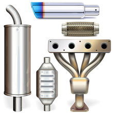 Vector Car Muffler Parts