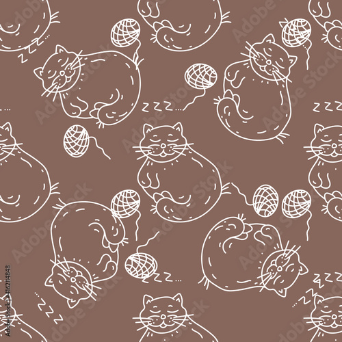 Seamless Doodle pattern with cats. Children's hand-drawn background. White outline on a light brown background. Chalk vector Illustration. Ideal for textile design, wrapping paper