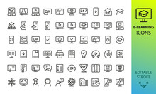 E-learning And Online Education Icons Set. Set Of Webinar, Video Lesson, Distance Lecture, Online Course, Diploma, Certificate, Podcast, Graduation Cap, Desk Globe, Student, Knowledge Base Vector Icon
