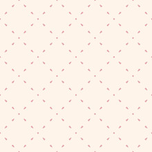 Simple Minimalist Vector Seamless Pattern. Subtle Minimal Geometric Texture. Abstract Background With Small Shapes, Dots, Lines, Grid. Pink And White Color. Cute Repeat Design For Wallpapers, Linens