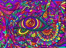 Psychedelic Shamanic Eye With Colorful Bizarre Abstract Ornaments Fantastic Background.