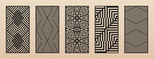 Laser Cut Patterns. Vector Set With Abstract Geometric Ornament, Lines, Stripes, Chevron. Optical Illusion Effect. Decorative Stencil For Laser Cutting Of Wood, Metal, Plastic, Paper. Aspect Ratio 1:2