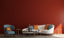 Modern Living Room Interior, Beige Sofa On Empty Wall Mock Up And Red Wall Pattern Background, 3d Rendering