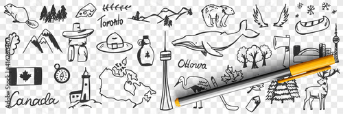 Fototapeta premium Canadian symbols and signs doodle set. Collection of hand drawn canadian traditional maple leaf flag wildlife mountains deers snow heron beer whale and names isolated on transparent background