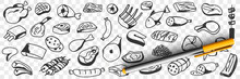 Meat Sausages Fish Doodle Set. Collection Of Hand Drawn Edible Sausage Poultry Chicken Salami Fish Barbecue Bacon Wings And Legs For Eating Isolated On Transparent Background