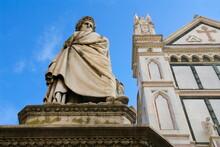 Statue Of Dante Alighieri, Santa Croce, Florence (Firenze), UNESCO World Heritage Site, Tuscany