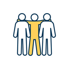 Teammates RGB Color Icon. Co-players, Colleagues, Partners. Close Interpersonal Bond. Trust Between Group Members. Enduring Affection, Esteem, Intimacy. Friendship. Isolated Vector Illustration