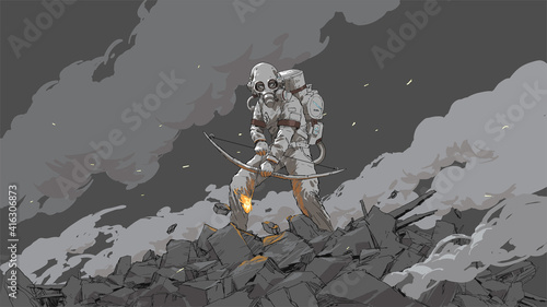 woman in a biohazard suit holding a fire bow, vector illustration Poster Mural XXL