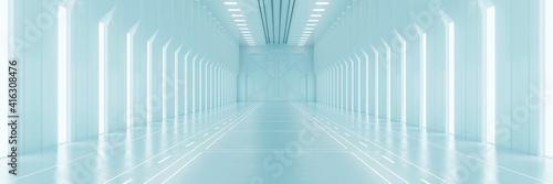 Obraz na plátne Light corridor in modern cyber sci fi corridor