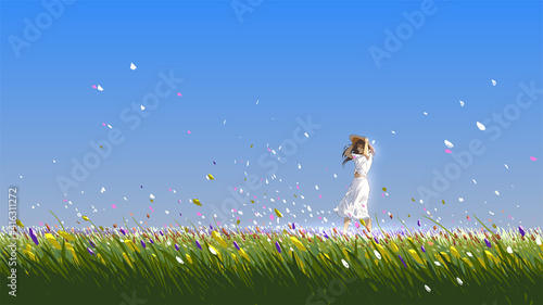 beautiful woman standing in the flower field on a summer day, vector illustration