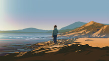 Man Standing On A Rock Looking At The Shore On A Sunny Day, Vector Illustration