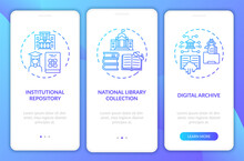 Types Of Digital Libraries Onboarding Mobile App Page Screen With Concepts. Huge Digital Collection Walkthrough 3 Steps Graphic Instructions. UI Vector Template With RGB Color Illustrations