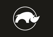 Black And White Rhino In Circle