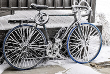 Frosty Bicycle In Winter