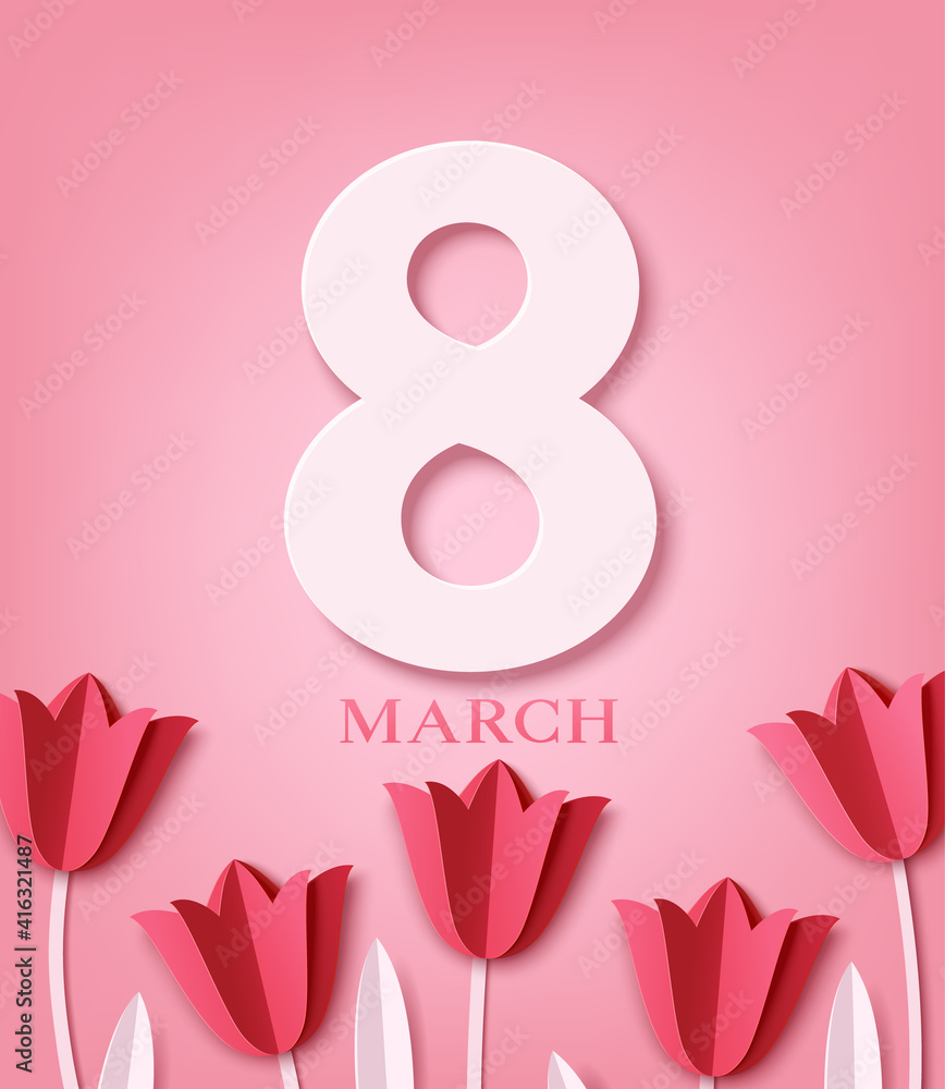 Fototapeta International Women's Day greeting card design template. 8 March concept. Paper red tulips are arranged in a row on pink background.  8 March text. Vector stock illustration.