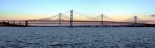 A Panorama Of Forth Road Bridge And Queensferry Crossing With Amazing Sky Colors During Sunrise
