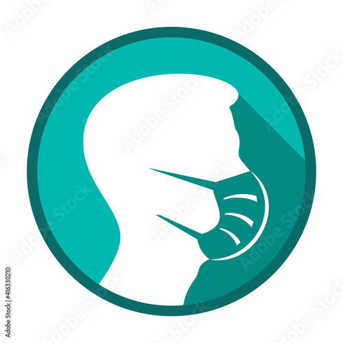 Vector face mask must be worn circle icon #416330210