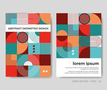 Retro Abstract Geometric Design Creative Vector Brochure Template
