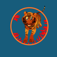 Tiger Jumping Trough A Circle Of Fire. Cute Vector Illustration With King Of The Jungle On Blue Background
