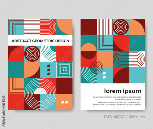 Retro abstract geometric design creative vector brochure template #416331214