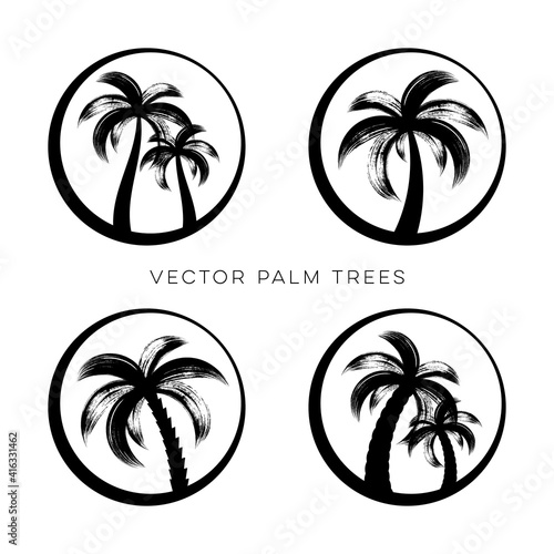 Creative vector palm trees logo design template collection #416331462
