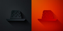Paper Cut Traditional Mexican Sombrero Hat Icon Isolated On Black And Red Background. Paper Art Style. Vector.