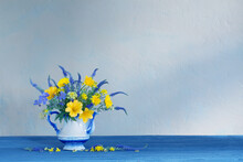 Bouquet With Blue And Yellow Flowers In Teapot On Wooden Table