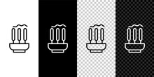 Set Line Burning Aromatic Incense Sticks Icon Isolated On Black And White,transparent Background. Vector.