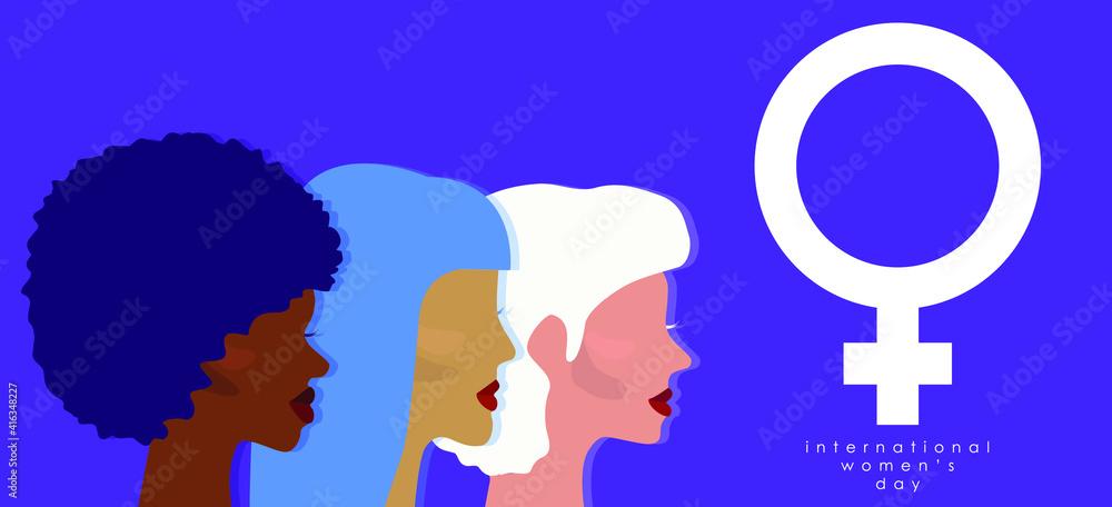 Fototapeta Happy Women's Day. Greeting card illustration. Women. Female symbol. Design for international women's event. Girl power