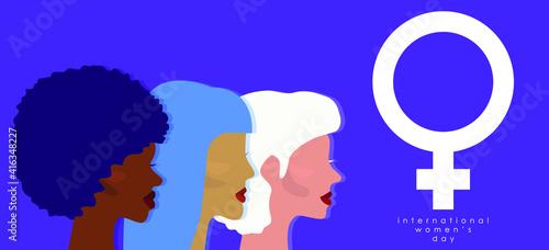 Fototapeta Happy Women's Day. Greeting card illustration. Women. Female symbol. Design for international women's event. Girl power obraz