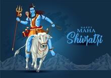 Happy Maha Shivratri Mahadev Ride With Nandhi , A Hindu Festival Celebrated Of Lord Shiva Night, English Calligraphy. Vector Illustration Design