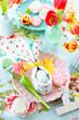 canvas print picture - Bunt gedeckter Tisch zu Ostern