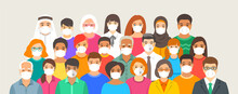 Group Of People Wearing Medical Masks. Diversity Of Old And Young Men And Women, Kids Of Different Races Standing Together. Coronavirus Spread Protection. Flu Prevention. Flat Vector Illustration
