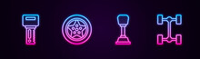 Set Line Car Key With Remote, Wheel, Gear Shifter And Chassis Car. Glowing Neon Icon. Vector.