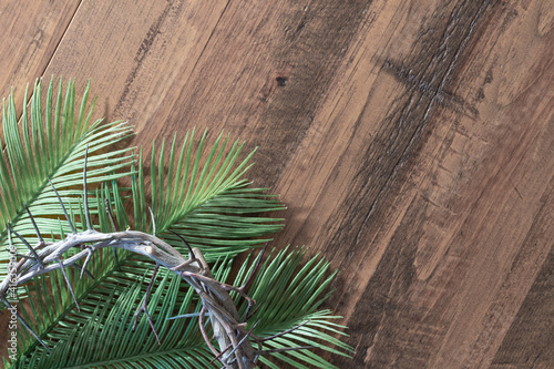 Fényképezés crown of thorns and palm fronds on wood background