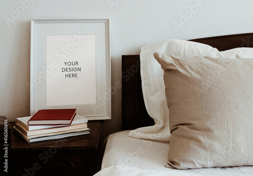 Fototapeta Frame Mockup by Bedside Table obraz