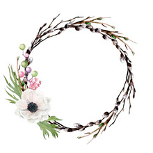 Easter Wreath With Flowers, Hand Drawn Watercolor Image
