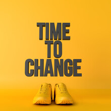 Time To Change Motivational Workout Fitness Phrase, 3d Rendering
