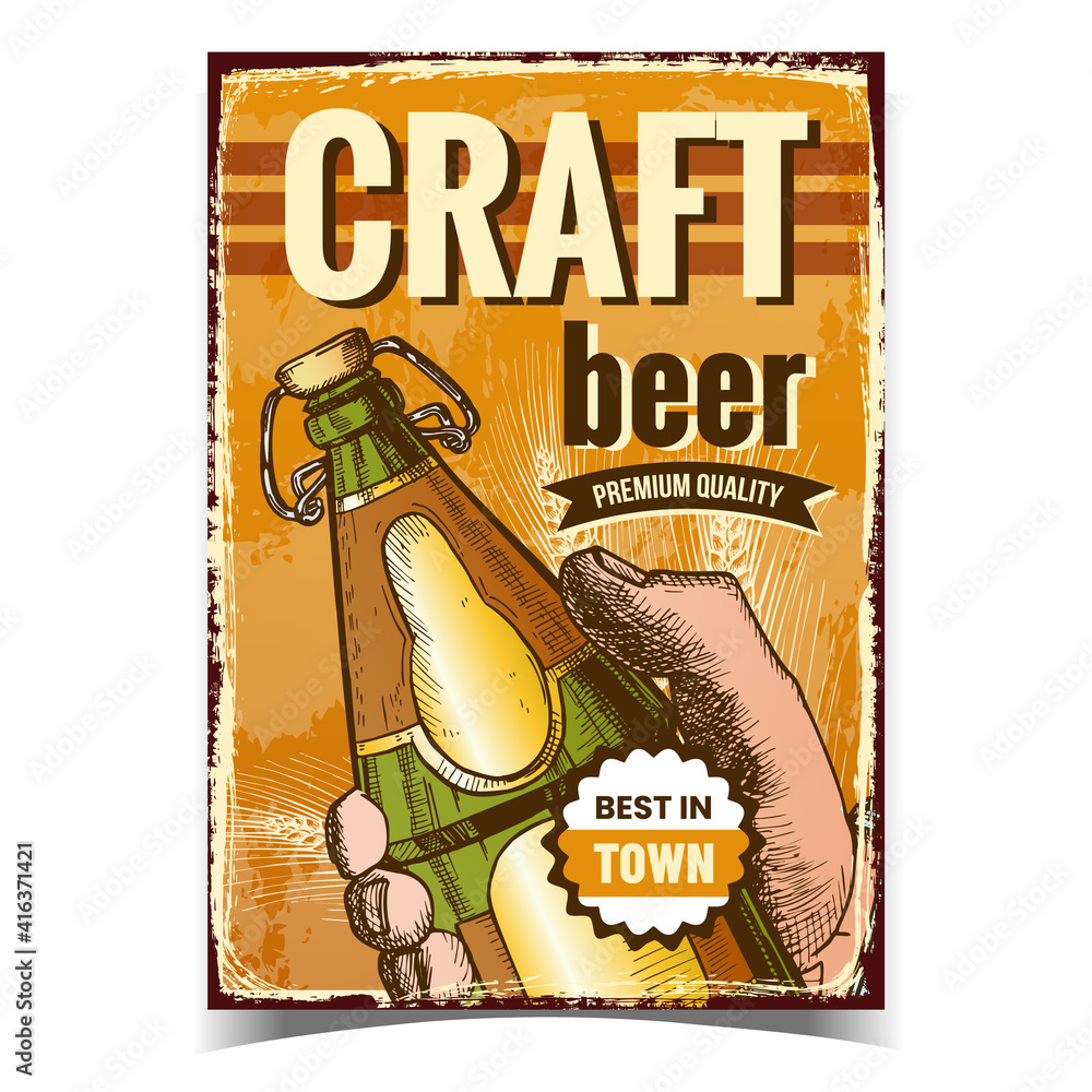 Fototapeta Craft Beer Creative Advertising Poster Vector. Man Hand Holding Beer Drink Blank Glass Bottle On Promotional Banner. Alcohol Refreshment Beverage Product Layout Hand Drawn Concept Illustration