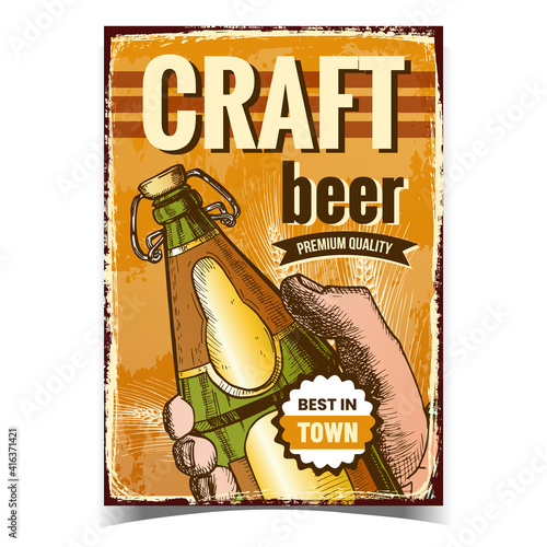Fototapeta Craft Beer Creative Advertising Poster Vector. Man Hand Holding Beer Drink Blank Glass Bottle On Promotional Banner. Alcohol Refreshment Beverage Product Layout Hand Drawn Concept Illustration obraz