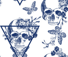 Vintage Blue Skull With Flowers And Butterfly On Inverted Triangle, Seamless Pattern.