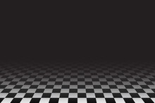 Checkered Tile Floor Perspective View Empty Room With Black Dark Background Vector IIllustration