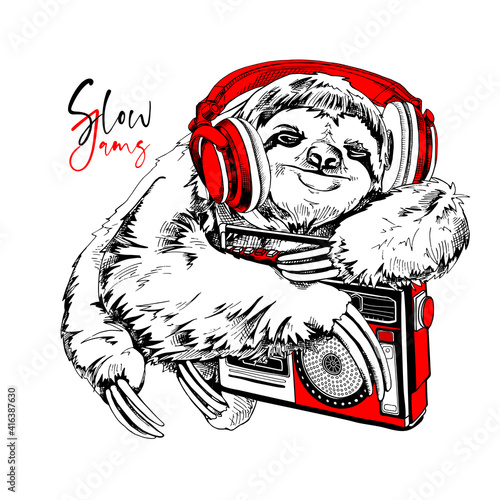 Fototapeta premium Funny smiling Sloth In a red headphones hugging a audio tape recorder. Slow jams - lettering quote. Humor card, t-shirt composition, hand drawn style print. Vector illustration.