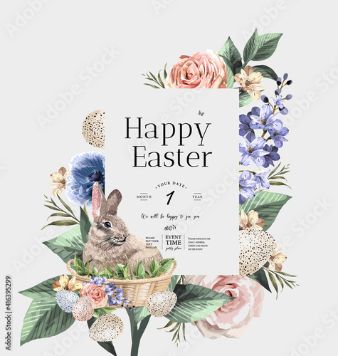 Slika na platnu Happy Easter! Vector illustrations of watercolor cute bunny, chick, flowers, plants and greeting frame